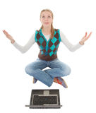 Trendy girl with computer Royalty Free Stock Photos