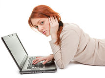 Trendy girl with computer Stock Image