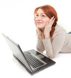 Trendy girl with computer Stock Images