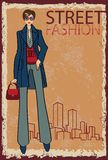 Trendy girl.Fashion Illustration.eps Royalty Free Stock Photos
