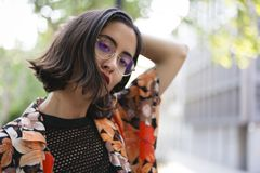 Trendy girl with glasses portrait. stock image