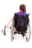 Trendy girl with megaphone on the wheelchair Royalty Free Stock Images