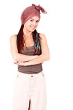 Trendy girl with scarf on head Royalty Free Stock Images