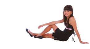 Trendy Girl Sitting Pose Stock Photography