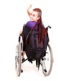 Trendy girl on the wheelchair Stock Photo