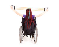 Trendy girl on the wheelchair Royalty Free Stock Images