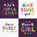 Trendy girlish slogans with decorative elements for girlish t shirts design. Girlie prints set. Vector templates royalty free illustration