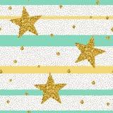 Trendy gold glittering confetti seamless pattern Stock Image