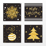 Trendy gold style card set for christmas and new year. Stock Image