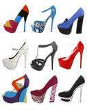 Trendy gorgeous shoes collection Stock Photography