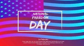 Trendy gradient poster or banner of National Freedom Day - February First. With USA flag background Royalty Free Stock Photo