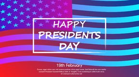 Trendy gradient poster or banner of Presidents Day - February 19th. With USA flag background royalty free illustration