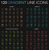 120 trendy gradient style thin line icons set of bakery, seafood, fruits vegetables, drinks icons isolated on black. Background stock illustration