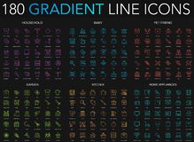180 trendy gradient style thin line icons set of household, baby, pet friend, garden, kitchen, home appliances isolated. On black background royalty free illustration