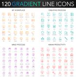 120 trendy gradient style thin line icons set of my workplace, creative process, human productivity, mental mind process. Isolated stock illustration