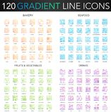120 trendy gradient vector thin line concept complex icons set of Bakery, Seafood, Fruits Vegetables, Drinks icon. 120 trendy gradient vector thin line concept vector illustration