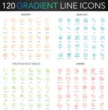120 trendy gradient vector thin line icons set of Bakery, Seafood, Fruits Vegetables, Drinks icon. 120 trendy gradient vector thin line icons set of Bakery stock illustration