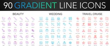 120 trendy gradient vector thin line icons set of Beauty, Wedding, Travel Cruise. icon. 120 trendy gradient vector thin line icons set of Beauty, Wedding royalty free illustration