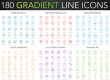 180 trendy gradient vector thin line icons set of cyber security, network technology, web development, digital marketing. Electronic devices, 3d modeling icon royalty free illustration