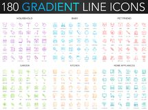180 trendy gradient vector thin line icons set of household, baby, pet friend, garden, kitchen, home appliances icon. 180 trendy gradient vector thin line icons royalty free illustration