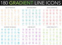 180 trendy gradient vector thin line icons set of seo optimization, web developm ent, digital marketing, network. Technology, cyber security, human productivity stock illustration