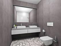 Modern gray bathroom. Interior modern gray bathroom, 3D render Stock Photo