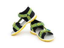 Trendy green sandal for boy on white Stock Photos