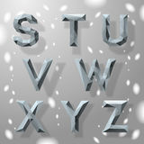 Trendy grey fractal geometric alphabet, part 3. Royalty Free Stock Photography
