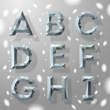 Trendy grey fractal geometric alphabet, part 1. Royalty Free Stock Photography
