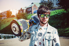trendy guy with gyro scooter Royalty Free Stock Photo