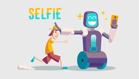 Cartoon about a guy and selfie robot. Trendy guy running after the robot. A robot taking a selfie on smartphone stock illustration