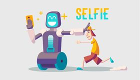 Cartoon about a guy and selfie robot. Trendy guy running after the robot. A robot taking a selfie on smartphone vector illustration