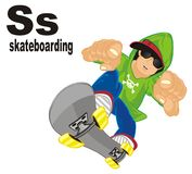 Boy on skate and abc. Trendy guy on skateboard with black abc Royalty Free Illustration