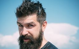 Trendy hairstyle for bearded man. Long bearded and unshaven man with stylish haircut. Bearded man on sunny sky. Background. Brutal caucasian hipster with wet stock image