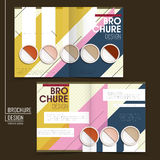 Trendy half-fold brochure design. With colorful geometric patterns Royalty Free Stock Photos