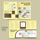 Trendy half-fold brochure design. With colorful geometric patterns Royalty Free Stock Photography