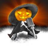 Trendy Halloween pumpkin. In black with microphone Stock Photo