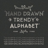 Trendy hand drawing alphabet. Eps10 illustration Royalty Free Stock Images