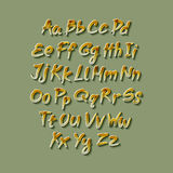 Trendy hand drawing alphabet, vector illustration. Royalty Free Stock Photo