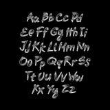 Trendy hand drawing alphabet, vector illustration. Art Stock Photo