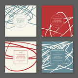 Trendy hand drawn cards. Set of creative freehand invitation cards. Hand Drawn textures made with ink. Vector. . Could be used as a catalog cover, invitation of Stock Image