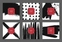 Trendy hand drawn cards. Set of creative freehand cards. Hand Drawn textures made with ink. Vector Royalty Free Stock Image