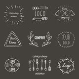 Trendy hand drawn doodle hipster logotypes collection. With arrows, leaves, mustache, vinyl, abstract elements on dark background. Hipster logos collection stock illustration