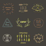 Trendy hand drawn doodle hipster logotypes collection. With arrows, leaves, mustache, vinyl, abstract elements on dark background. Hipster logos collection royalty free illustration