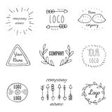 Trendy hand drawn doodle hipster logotypes collection Stock Images