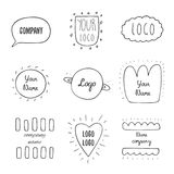 Trendy hand drawn doodle hipster logotypes collection. With dialog bubble, cloud, sun, planet saturn, heart, abstract elements. Hipster logos collection royalty free illustration