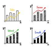 Trendy hand-drawn vector bar graph Stock Photography