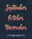 Trendy hand lettering set of autumn months.. Pied brush handwritten names of months. Fashion graphics, art print. Calligraphic colored set. Vector illustration Royalty Free Stock Images