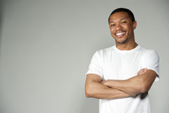 Trendy Happy and Fun Black Male Wearing A White Stock Photos
