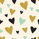 Trendy hearts color vector seamless pattern. Royalty Free Stock Photos